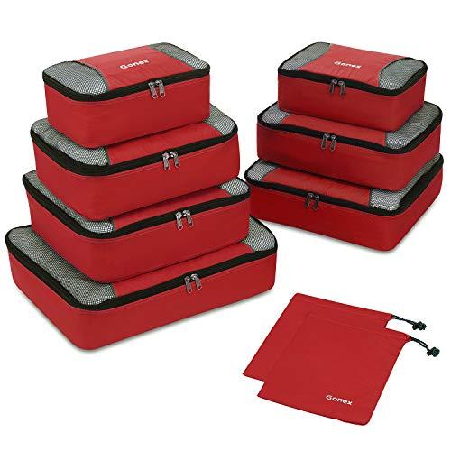 Packing Cubes 9-teilig, 2 zusätzliche Beutel, kleine, mittelgroße, große und 1 größere Kleidertasche, rot