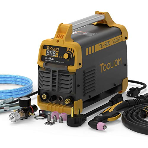TOOLIOM Plasma Cutter TL-50C 50Amp Non-Touch Pilot Air Plasma Cutter Inverter DC Digital Display IGBT Portable Cutting Machine 110V / 220V Dual Voltage