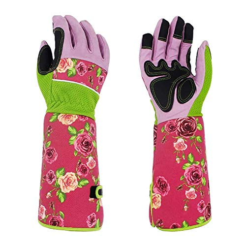 QEES Long Gardening Gloves for Women, Thorn Proof Ladies Garden Work Gloves Gauntlet with 37CM Long Sleeves,to Protect Your Arms Until The Elbow (Pink)