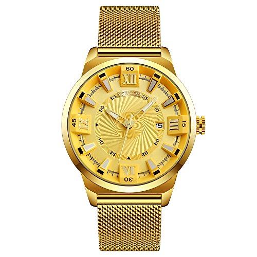 Relojes para Hombres Moda 30M Impermeable Calidad Acero Inoxidable 304 Oficial de Negocios Estuche Redondo Movimiento de Cuarzo con Reloj de Pulsera de Malla Dorada (Esfera Dorada)
