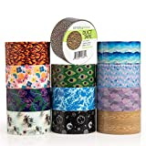 Simply Genius (12 Pack) Patterned and Colored Duct Tape Variety Pack Tape Rolls Craft Supplies for Kids Adults Patterned Duct Tape Colors, 10 Yards, 120 Yards Total, Nature Patterns