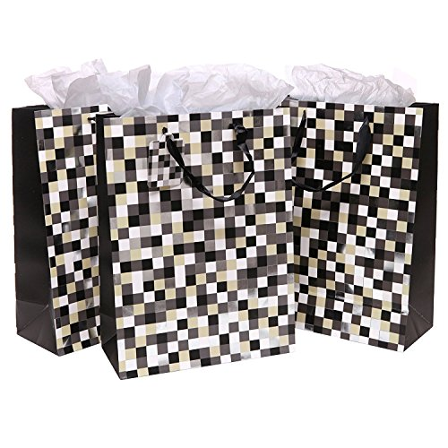 Set of 3 Cool Pixels Style Party/Birthday Gift Bags and Tissues
