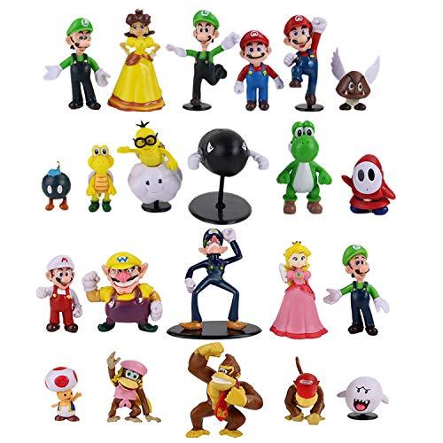 conjunto de 22 muñecas de juguetes de figuras de acción de Super Mario Bros, colecciones de modelos de PVC