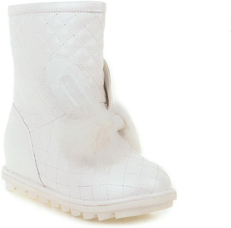 AmoonyFashion Women's Kitten Heels Mid Top Solid Pull On Boots