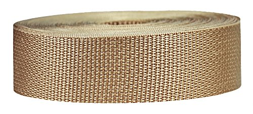 Strapworks Lightweight Polypropylene Webbing - Poly Strapping for Outdoor DIY Gear Repair, Pet Collars, Crafts – 1.5 Inch x 25 Yards - Khaki