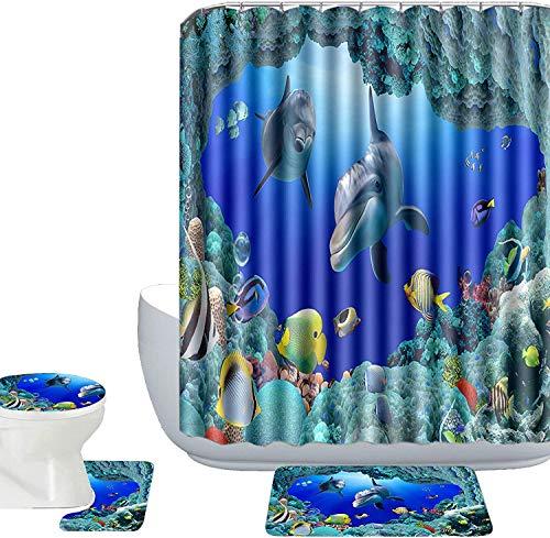 Tier-Serie Duschvorhänge Badematten Set,180x180cm(71x71 in)Duschvorhänge/Deckelbezug/Badvorleger/WC-Vorleger Waschbar Badvorhänge aus Polyester, Wasserdicht Anti-Schimmel, Anti-Bakteriell. (Delphin)