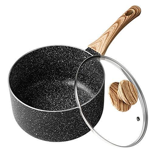 MICHELANGELO Kochtopf 18cm, Stielkasserolle mit Deckel für alle Herdarten außer induktion, kleiner Saucenpfanne, Antihaft-Kochtopf, Kochtopf mit Deckel, ergonomischer Bakelit-Griff, 2 Liter