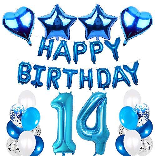 SNOWZAN 14.geburtstags deko junge Geburtstagsdeko Blau Jungen folienballon buchstaben blau geburtstag luftballon Blau Ballon Geburtstag Blau Happy Birthday Girlande Geburtstag Deko für Mädchen Jungen