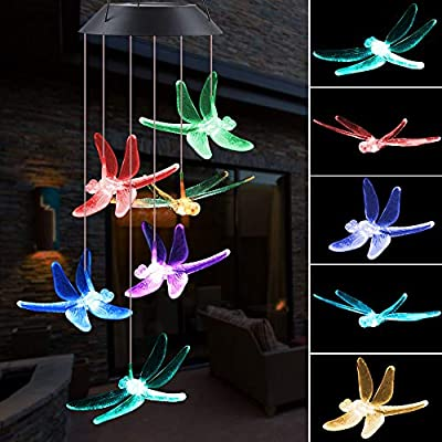 ecoeco Wind Chime, Solar Lights Chimes Dragonfly Wind Chimes Led Outdoor Decor, Yard Decorations Solar Light Mobile, Memorial Wind Chimes