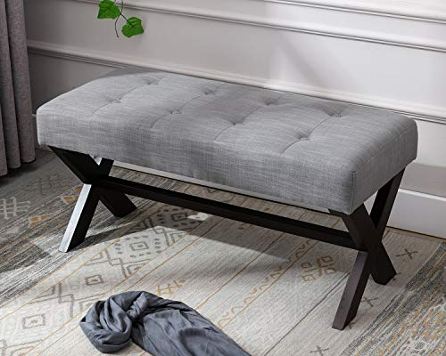 DM Furniture DUOMAY Entryway Bench Rustic Fabric Upholstered Bedroom Bench Seat Button Tufted Gray