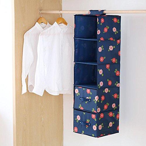 Dark Blue Floral Pattern Drawer Wardrobe Stockage Sac Hanging Clothing Sous-vêtements Sac de rangement Five Layers (27 * 28 * 102cm) Rollsnownow (Couleur : Four drawers)