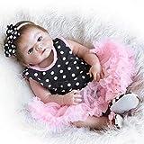 YGXR Muñeca Reborn, Que Parece Real Girl Baby Doll Simulación Silicona Recién Nacido Muñeca Suave Ojos Azules Juguetes para niños pequeños para Mayores de 3 años, 48cm