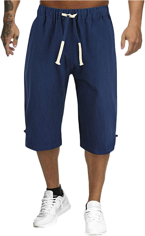 Toamen Mens Yoga Capri Pants Casual Baggy Elastic Waist Drawstring Gym Sports Cotton Shorts 3/4 Pants