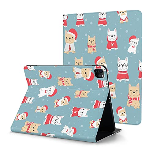 French Bulldog Frenchie Christmas Case for iPad Pro 12.9 Case 2020 with Pencil Holder Slim Shell Smart Auto Wake Sleep Cover