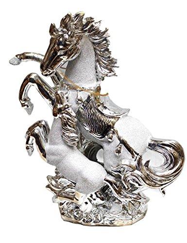 Ornamento in ceramica di stile italiano, statuetta raffigurante cavalli in oro/argento, Silver