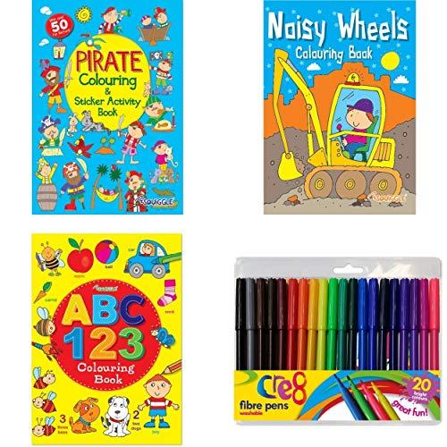Anilas Aufkleber für Jungen mit Piraten- und Geräuschen, Aktivitäten- und Malbücher mit Lernbuch und...