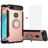 Phone Case for Oneplus 5T with Tempered Glass Screen Protector Cover and Stand Ring Holder Slim Hybrid Hard Cell Accessories Oneplus5T A5010 One Plus5T 1 Plus 1plus One+ + 1+ 1+5T Cases Rose Gold