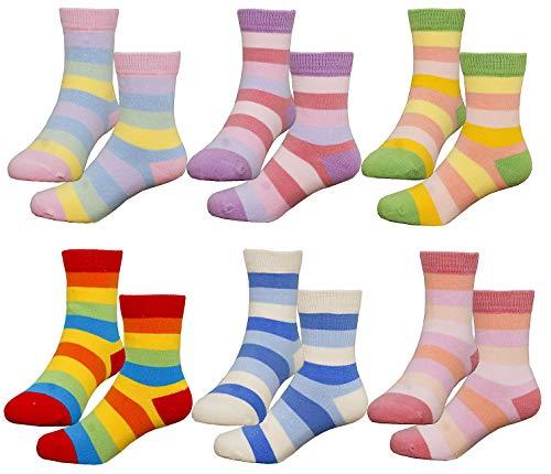HzCodelo Kids Toddler Big Little Girls Fashion Cotton Crew Cute Fun Socks -6 Pairs Gift Set,Multicolor-NoV,Shoe Size 13-3.5 Little Kid(7-10 Years/L)