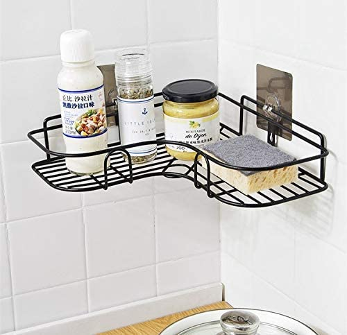 Zurato Stainless Steel Bathroom Corner Shelf Organizer Storage Hanging Shower Caddy Rack for Bathroom    Self-Adhesive Wall Mounted Corner Shower Caddy for Bathroom and Kitchen - Black product image