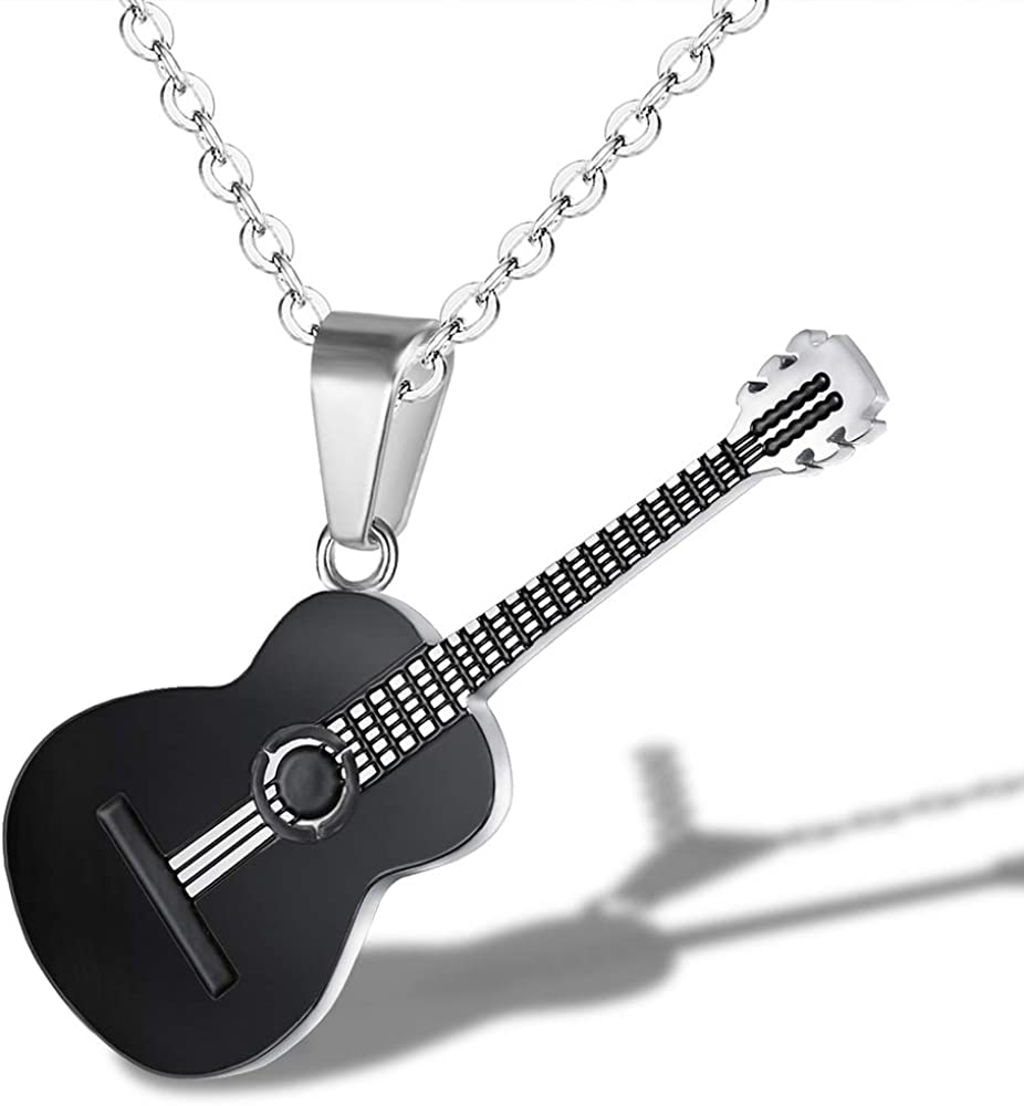 MONALLY Max 75% OFF Guitar Necklace for Award-winning store Men Women Style Hop Music Hip Stainl