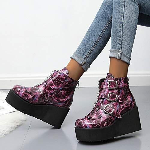 LYYJF Botas de tacón alto para mujer, botas de cuña, plataforma gruesa, tacón de bloque, botas de moda, estilo punk., Mujer, rojo, 38 EU