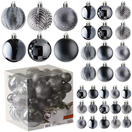 Grey Christmas Ball Ornaments for Christams Decorations - 36 Pieces Xmas Tree Shatterproof Ornaments with Hanging Loop for Holiday and Party Deocation (Combo of 6 Styles in 3 Sizes)
