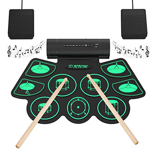 Electronic Drum Set Digital Roll-Up MIDI Drum Kit 9 Silicon Durm Pad...