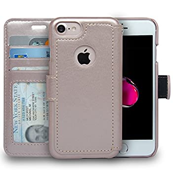 navor Slim & Light Premium Flip Wallet Case with RFID Protection Compatible for iPhone 7 & 8 - [4.7 inch]  Zevo S2 Series  - Rose Gold