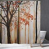 Herbstbaum Duschvorhang, einsamer Baum mit roten Blättern, Herbstfärbung gedruckt auf abstraktem Waldhintergr&, Badezimmer Dekoration mit Haken.70x70Zoll