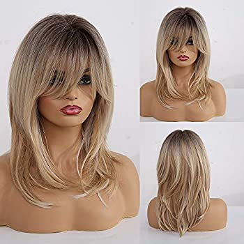 Ombre Blonde Wigs for Women HAIRCUBE Shoulder-Length Curly Synthetic Wigs for Women with Bangs 18 Inch Dark Root Light-Blonde Hair Long Wigs for White Women
