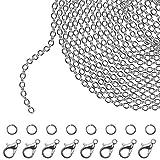 Kurtzy Kettenglieder für die Schmuckherstellung - 10m Versilberte Eisen Kabel Kette (2.5mm Dicke) mit 30 Karabinerverschlüssen und 30 Spaltringen (Jeder) für DIY Halsketten, Armbänder, Kunsthandwerk
