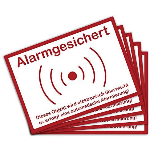 5 Stück Achtung Dieses Objekt ist Alarmgesichert in A6 Alarmanlage 14,8 x 10,5 cm Sticker mit UV Schutz für Außen-und Innenbereich