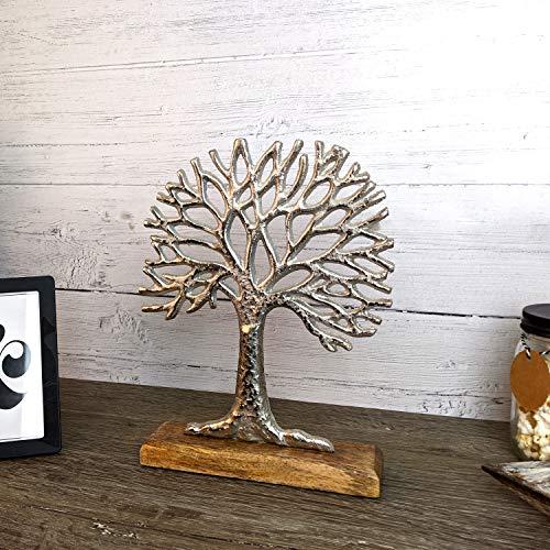 Árbol de la vida decorativo sobre base de madera, aluminio, madera de mango, altura de 28 cm, figura de madera, figura de metal, escultura de decoración plateada/marrón