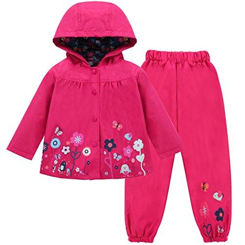 LZH Mädchen Kinder Regenjacke mit Kapuze Regenhose 2pcs Bekleidungsset, Magenta, 2-3 Jahre(110)