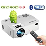 ERISAN Android 6.0 Projector(Warranty Included), Built-in WiFi Bluetooth Mini Smart Video Beam, Portable