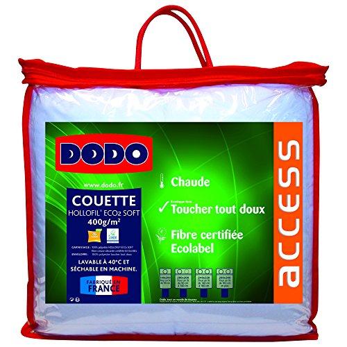 Dodo Couette Unie Soft, Enveloppe Microperf + Garnissage: 100% Polyester Hollofil Eco² Souple 400 g/m² Fibre Creuse Siliconée, Blanc, 140/200