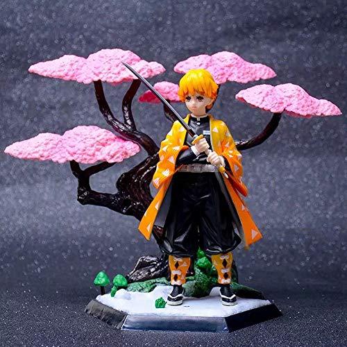 WISHVYQ Demon Slayers Blade Modelo de Anime Kummon Nidou Tanjiro Zenyi Escena de Flor de Cerezo Kocho Shinobu Versión Escultura Decoración Estatua Muñeca Modelo Altura de Juguete 19cm