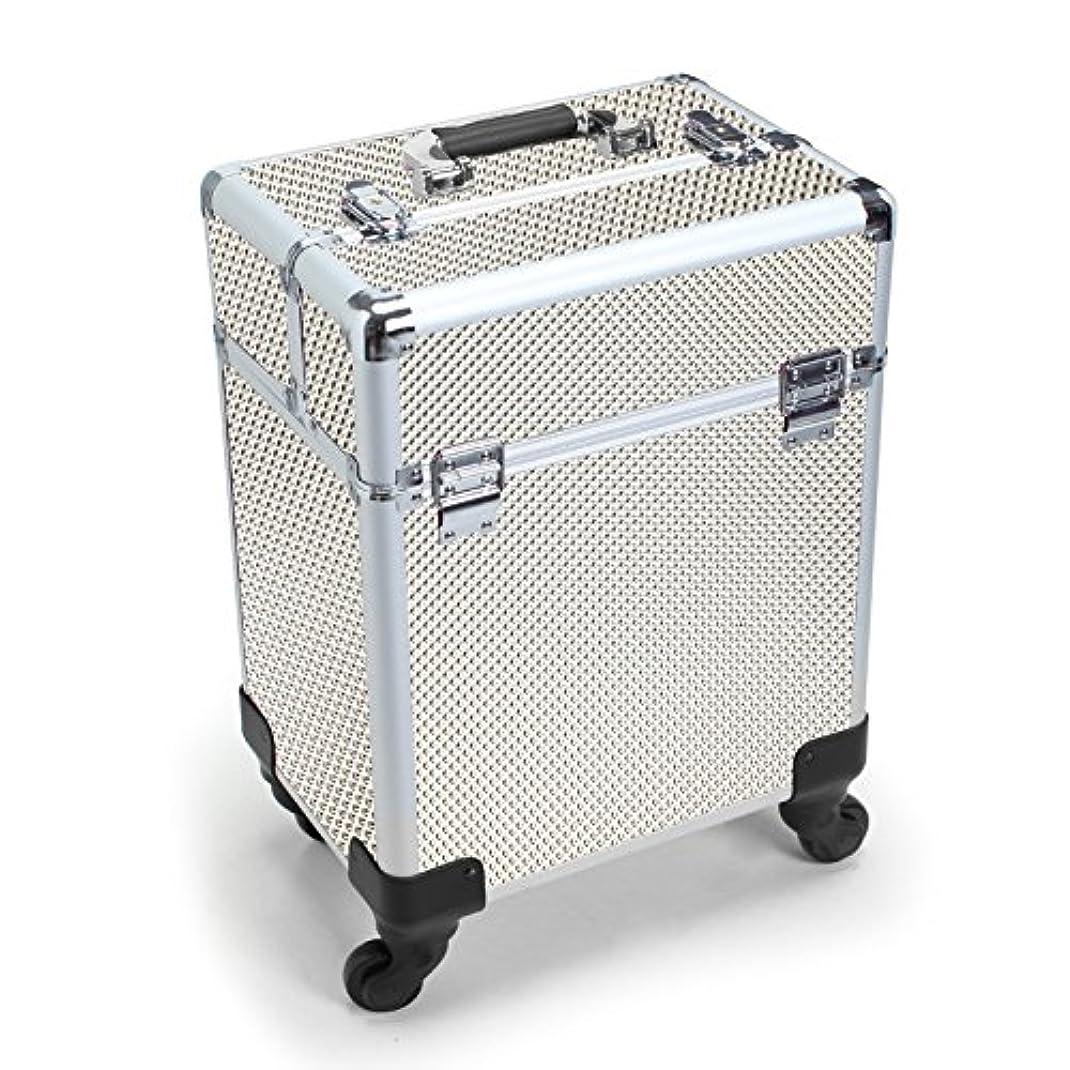 不毛発症人差し指MCTECH キャリーケース レバー式 メイクボックス 美容師用 スーツケース型 化粧品 プロ用 薬箱 救急箱 収納 キャスター付き カギ付き 超大型メイクケース ジルバー