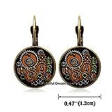 Waozshangu Reiki Symbols in Steampunk Design Dangle Earrings Earrings Glass Photo cabochon Earrings, Simple Earrings,Everyday Jewelry,PU021 (Brass)