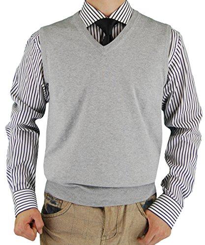 Luciano Natazzi Mens Sweater Vest Classic Fit V-Neck Pullover Fine Cotton (XXXX-Large, Light Gray)