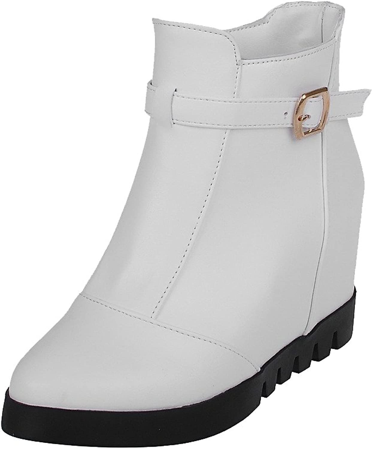AmoonyFashion Women's Low-top Pull-on Soft Material High-Heels Round Closed Toe Boots