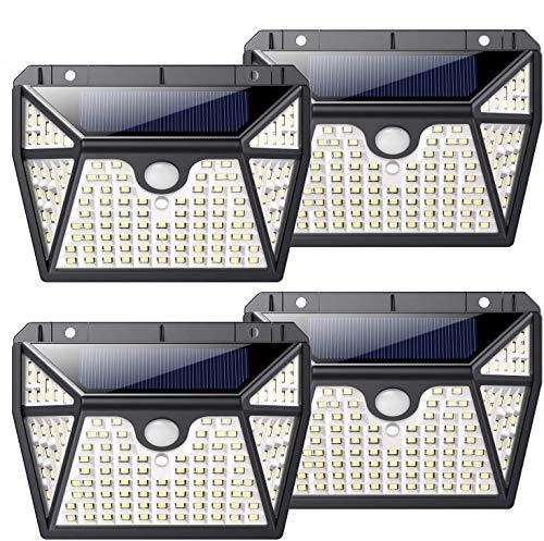 Luz Solar Exterior 118LED, Kilponen Foco Solar Exterior con Sensor de Movimiento Lámpara Solar Impermeable Gran Ángulo 270º de Iluminación Luces Solares Jardín 2200mAh y 3 Modos Inteligentes 4-Paquete