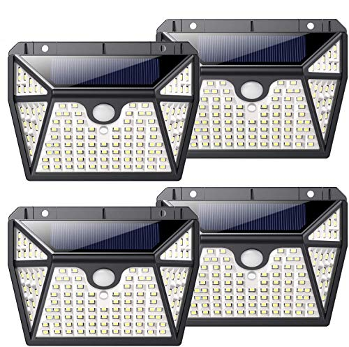 Solar Lights Outdoor, 【270°Five-Sided Illumination】Kilponen 118 LED Solar Security Lights Motion Sensor 2200mAh Solar Powered Lights Wall Lights Waterproof with 3 Modes for Outside (4 Pack)