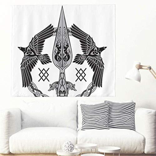 Tapiz Colgante de Pared Color sólido Celta Cuervo Lobo Totem Tapiz Étnico Tribal Celta Totem Tapiz para Dormitorio Decoración de Sala de Estar-El 150x230cm_Blanco