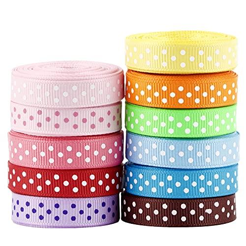 11 Farben / 33 m / 9mm breit Ripsband Bänder Zum Nähen Band Schleifenband Dekoband Geschenkband Stoffband Weihnachtsband Weihnachtsbänder für Hochzeit Weihnachten Taufe Ostern Halloween