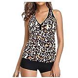 Bikinis Mujer 2021 BrasileñOs ProteccióN Solar Conservadora Y Elegante Traje De BañO Tankini para Mujer Top con Control De Barriga con Pantalones Cortos Traje De BañO De Dos Piezas