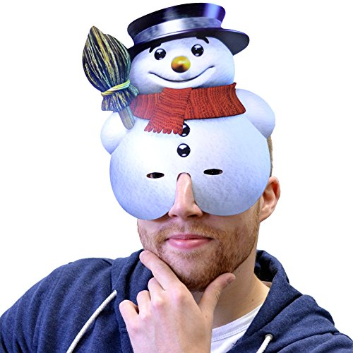 Snowman Character Face Card Mask