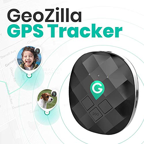 GeoZilla GPS Location Tracker for Kids Elderly Pets Dogs Luggage | Utilizes Cellular, WiFi and GPS | Accurate and Lightweight | SIM Card and 30 Days Free Service Plan Subscription Included