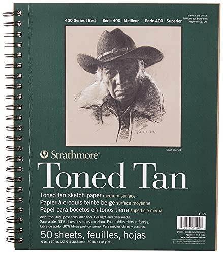 "Strathmore 412-9 400Series Toned Tan, Bloc de dibujo, con espiral de 22,86cm x 30,48cm, 50hojas, canela, 9 by 12"""