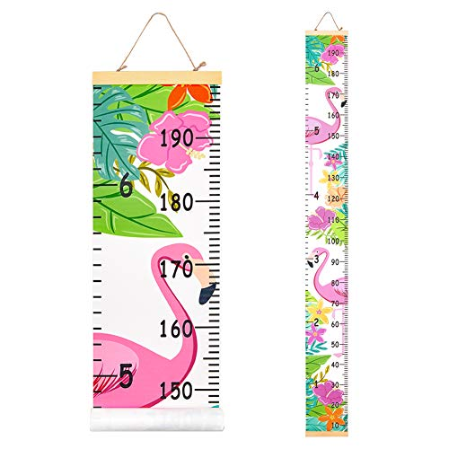 Beinou Wall Height Chart Growth Chart for Kids Wooden Wall Ruler 7.9'' x 79'' Canvas Height Measurement Wall Decor Hanging Height Measure for Baby Girls Boys Toddler Bedroom, Flamingo with Flowers